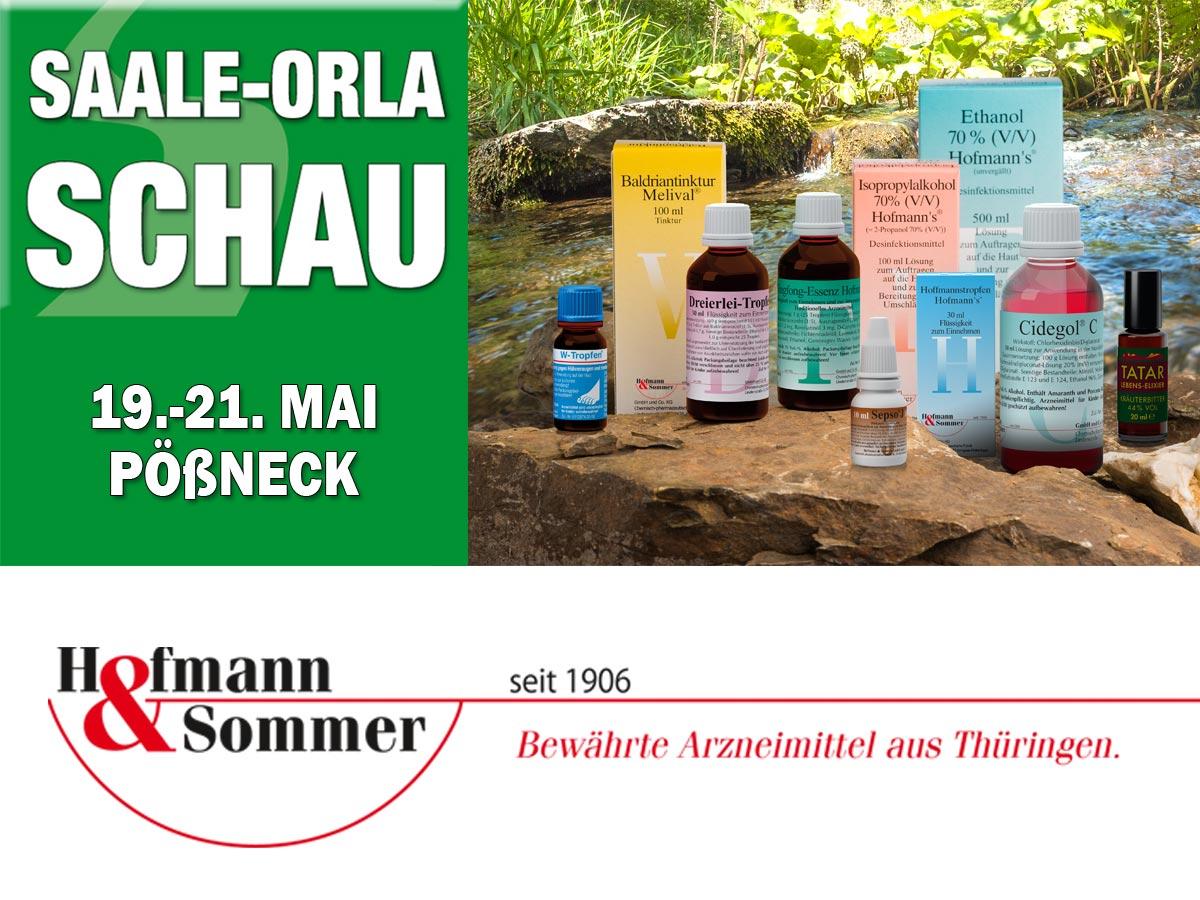 Links das Logo der Saale-Orla Schau, rechts Produkte von Hofmann & Sommer