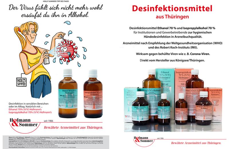 Flyer zu Desinfektionsmitteln für staatliche Einrichtugnen, Institutionen und Gewerbe