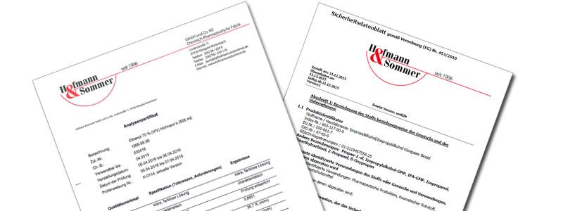 Zwei Analysenzertifikate von Hofmann & Sommer
