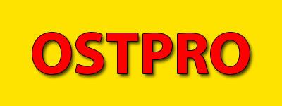Der OSTPRO Schriftzug rot auf gelbem Grund.