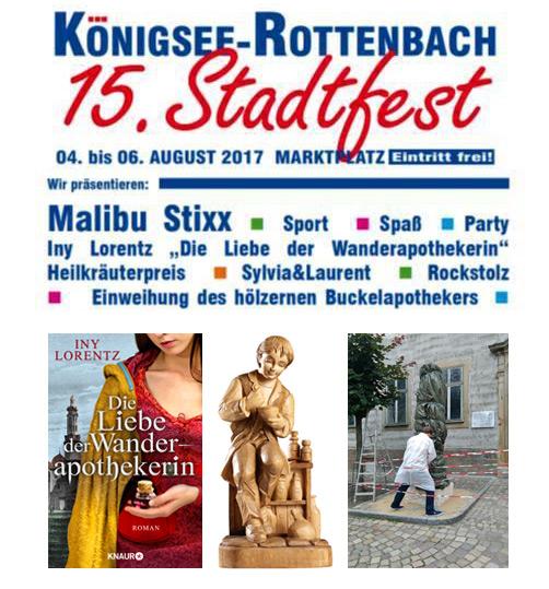 Plakat zum 15. Stadtfest von Königsee-Rottenbach mit den Höhepunkten der Veranstaltung.