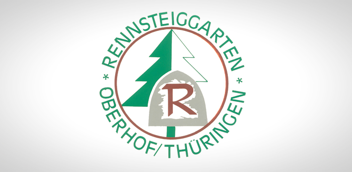 Logo of Rennsteiggarten Oberhof, a botanical garden for mountain flora am Rennsteig at Oberhof in the Thuringian Forest.