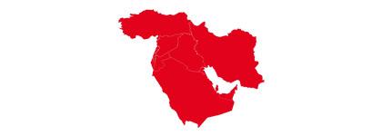Karte der Staaten des Nahen Ostens.