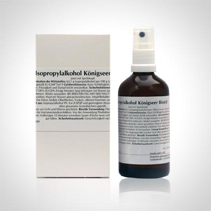 Eine Falschtschtel und eine Flasche Isopropylalhol Königseer Biozid.